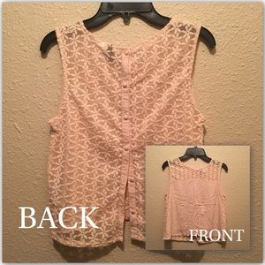 H&M divided light pink backless button up tank